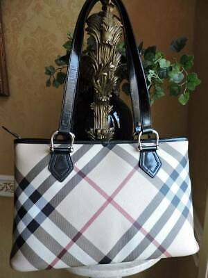 7f9657457af3 Authentic Burberry Nova Check Black Patent Leather Zippered Shopper Tote  MINT