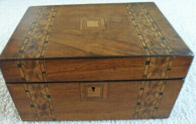 Antique Victorian Tunbridge Ware work box decorative panels on the top and front