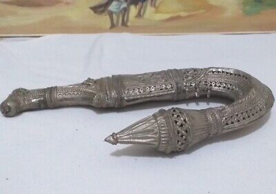 Old Rare Antique Islamic Yemeni Dagger Khanjar Bedouin Silver Plated