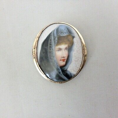 "Antique Vtg Hand Painted Porcelain Lillian Russell Brooch, 2-1/4""L"