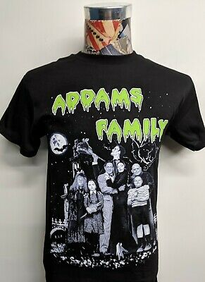 Brand New The Addams Family Green Letters Portrait Horror Movie Black T Shirt