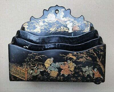 Beautiful Vintage Japanese figurative painted lacquered wood letter rack
