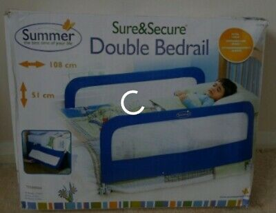 Summer Infant Grow With Me Double Bedrail│Baby Kid's Bed Safety Guard Rail│Blue