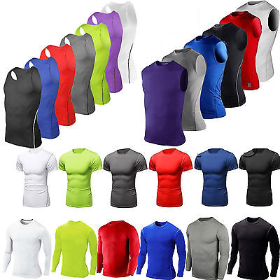 UK Mens Compression Under Shirt Base Layer Tight Top Gym Sports Athletic T Shirt