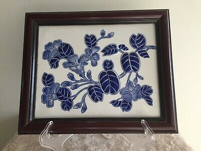 Framed Blue and White Decorative Tile Picture