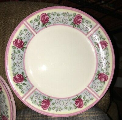 Set of 4 GABBAY Gibson Housewares Dessert Plates Lilac Trim ROSES Shades Of Pink