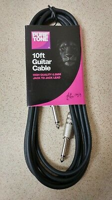 Pure Tone 10ft Guitar Cable - Bass Guitar, Electric Guitar, Electro-Acoustic NEW