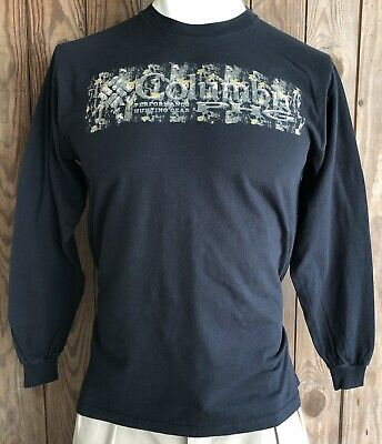 25761dade96 Columbia PHG Men's Large Tshirt Black Long Sleeve Cotton Camouflage Hunting  Gear