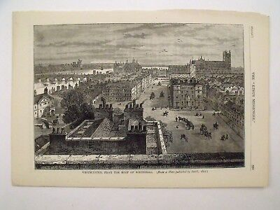 Antique Victorian Illustrated Print Westminster From Whitehall Roof London