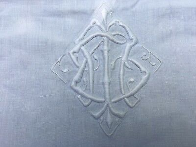 Antique Linen French Embroidered Sheet Monogrammed With Ladderwork Hems