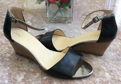 bec317aa7 Cole Haan Sadie Black Leather Open Toe Wedge Sandal Size 8.5B EUC! MSRP $170
