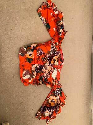 3bacc9f314746b H M Hennes Orange Floral Crop Off The Shoulder Top With Sleeves Size 12 NWT
