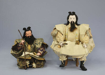 The first Emperor of Japan Emperor Jimmu & Michinoomi no Mikoto Antique Doll Set