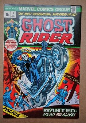 Marvel - Ghost Rider #1 Sept 1973 FN UK price variant