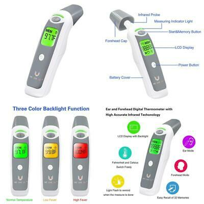 E Ear And Forehead Body Fever Thermometer Infrared Digital Non Contact For Baby