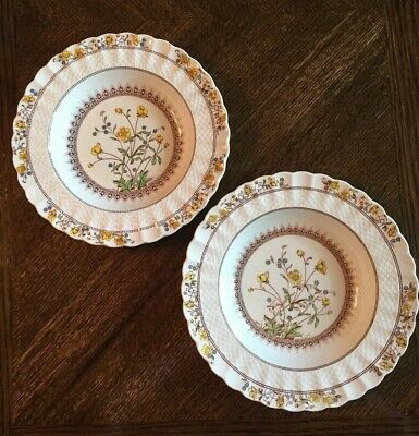 """Set of 2 Spode BUTTERCUP 9"""" Rimmed Soup Bowls ~ 2/7873 AO~ Preowned"""