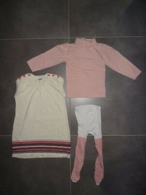 Ensemble Robe + T-shirt ML col roulé + collant beige rose KIDKANAÏ Taille 4 ans