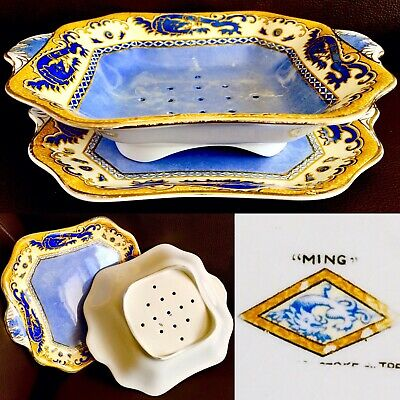 "Rare Antique (1920s) Royal Winton Grimwades ""Ming"" Perforated Salad Bowl & Tray"