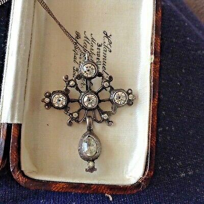 Antique Georgian Old Cut Black Dot Paste Silver Pendant And Chain 1780