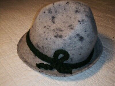 Men's Vintage German Bavarian Alpine Hat Grey Wool Faustmann Original Large