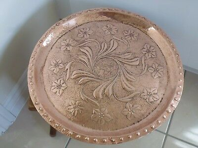 "Vintage Arts And Crafts Art Nouveau Style 15.1/2"" Diameter Copper Charger"