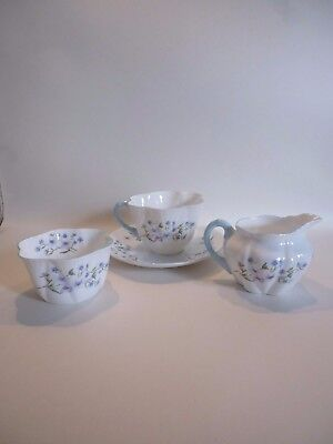 Vintage Shelley 'Blue Rock' Dainty Tea For One Set Bone China Circa 1940'S Style