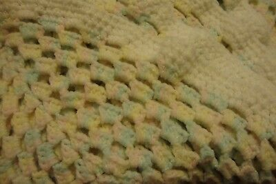 """Handmade Knitted Baby Blanket Quilt Pastel Pinks, Blues, Yellows 36"""" x 60""""   166"""