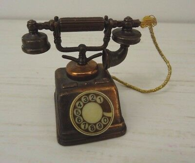 Antique Dollhouse Miniature Telephone Gold Metal