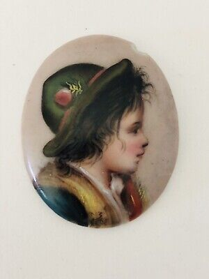 Antique Victorian Hand Painted Boy Portrait Porcelain Insert for Brooch Pin .