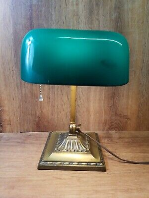 Antique Emeralite #8734 Double Knuckle Desk Bankers Lamp Green Cased Shade