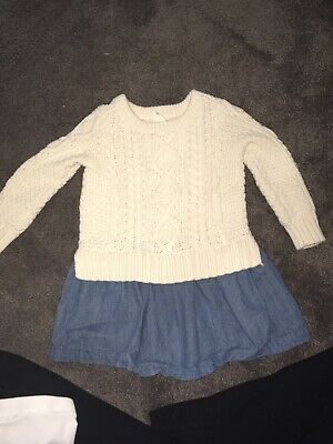 73c7587766a8e Baby Gap Toddler Girls Chambray Cable Knit Sweater Dress 2 Years