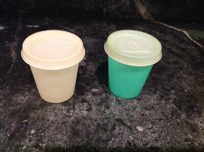 Tupperware Pastel Midget Tiny Container Lot Of Two Vintage