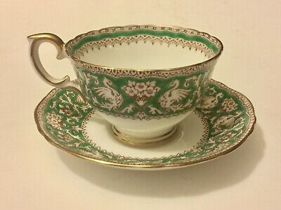 Crown Staffordshire Tea Cup Saucer Emerald Green Ellesmere England A15002
