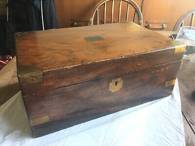 Antique Vintage Walnut Writing Slope Box With Brass Fittings