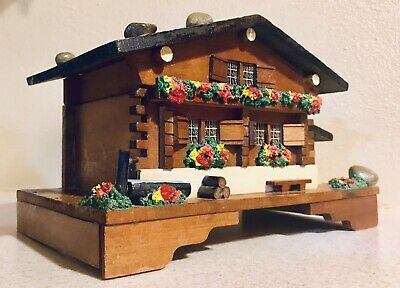 VINTAGE Antique WOODEN SWISS CHALET  MUSIC  BOX With Ballerina  Very Nice