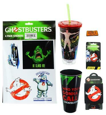 Ghostbusters Who You Gonna Call? Bundle: Pins, Pint Glass, Cup, Stickers, Koozie