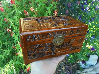 Vintage Hand Carved Camphor Wood Jewellery Box Red And Gold Lining