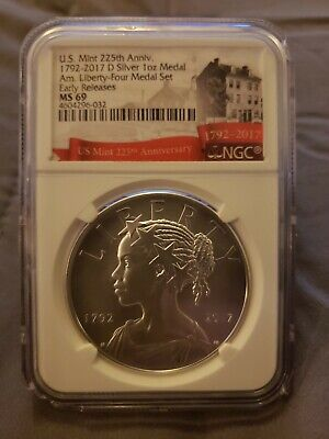 2017-D American Liberty Silver 1oz Medal US Mint 225th Anniversary NGC MS69