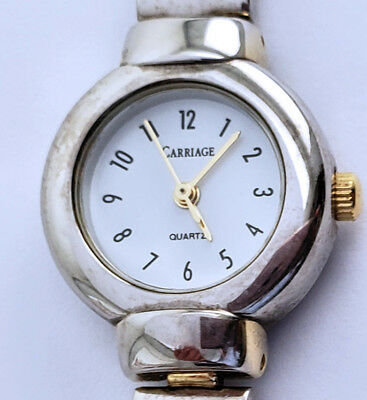 "Women's Timex Carriage 21mm Dress Watch 6½"" Band Arabic 3 Year Battery Two Tone"