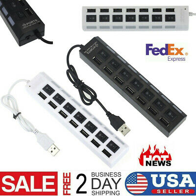 LED High Speed 4Ports USB 3.0 USB 2.0 Multi HUB Splitter Adapter For PC LaptopFP