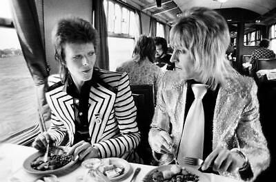 David Bowie and Mick Ronson Having Lunch Art Silk Poster 12x18 24x36
