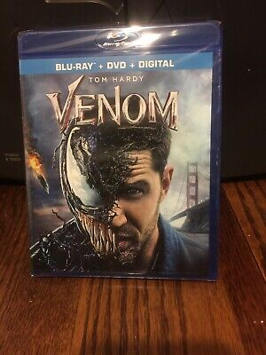 Venom BLU-RAY + DVD + DIGITAL New Sealed 2018 Tom Hardy Marvel