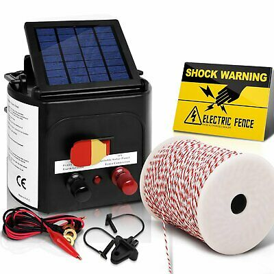 Solar 3km Electric Fence Energiser Charger + Farm Polytape Rope & Insulators