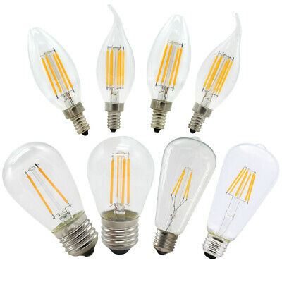 2W 4W 6W E12 E14 E27 Dimmable LED Filament Light Candle Globe Bulb Warm White
