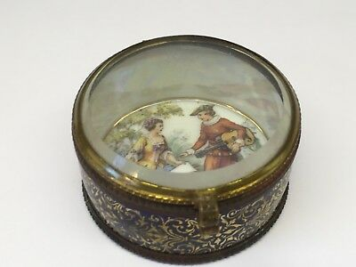Antique Beveled Glass Box With Handpainted Courting Couple Czechoslovakia