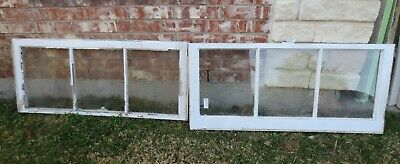 VINTAGE SASH ANTIQUE WOOD WINDOW PICTURE FRAME 19 x 42 SET #3