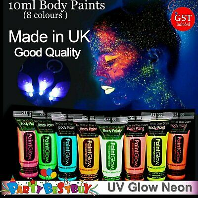 8x UV Glow Neon in Dark Face Body Paint+1 Free UV Torch Make up Fluoro Party Glo