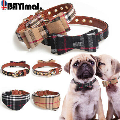 Puppy Pet Dog Adjustable Collar Vintage Check Bow Tie Cat Scarf Necklace Gifts