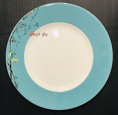 """Set Of 8 Lenox Simply Fine China Chirp Turquoise & White 11"""" Dinner Plates"""
