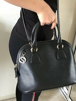 84ab42be0c4f GUCCI Women's Black Leather Convertible Medium Dome Charm Shoulder Bag